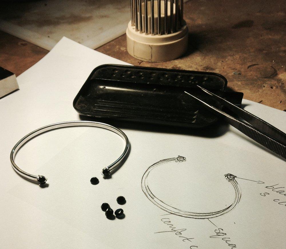 Stella Midnight Sapphire bangle in workshop.jpg