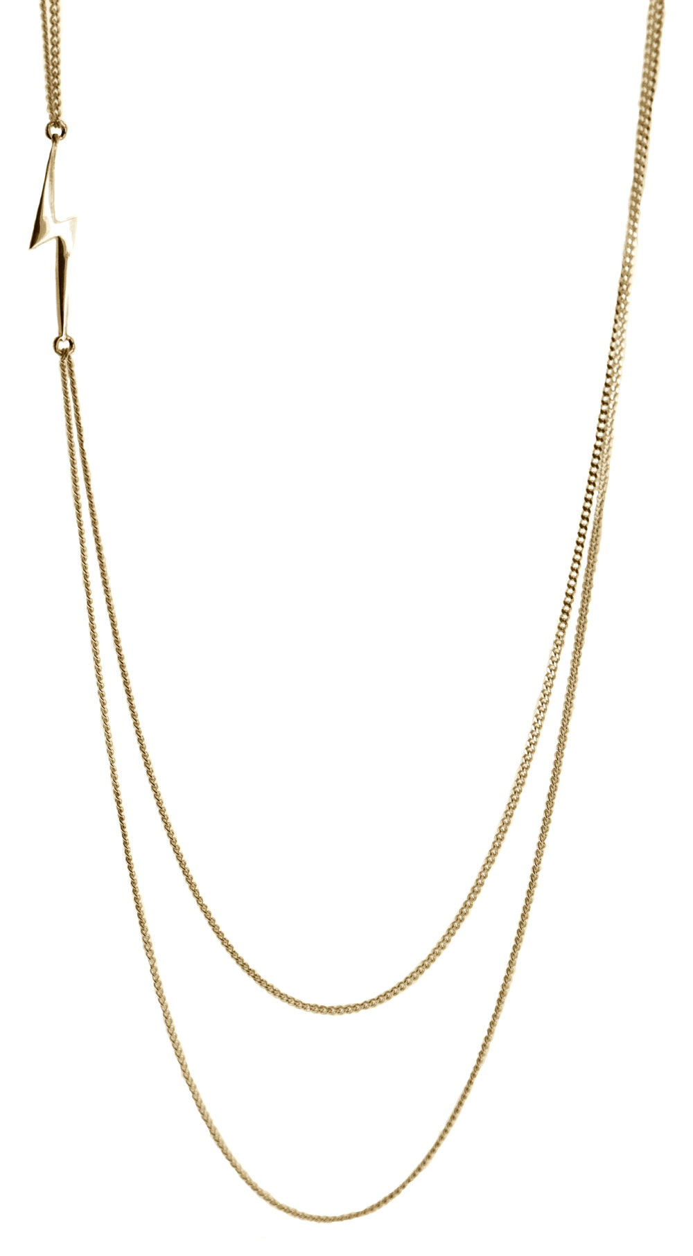 Stella Lightning Bolt Double Strand Necklace Gold close up.jpg