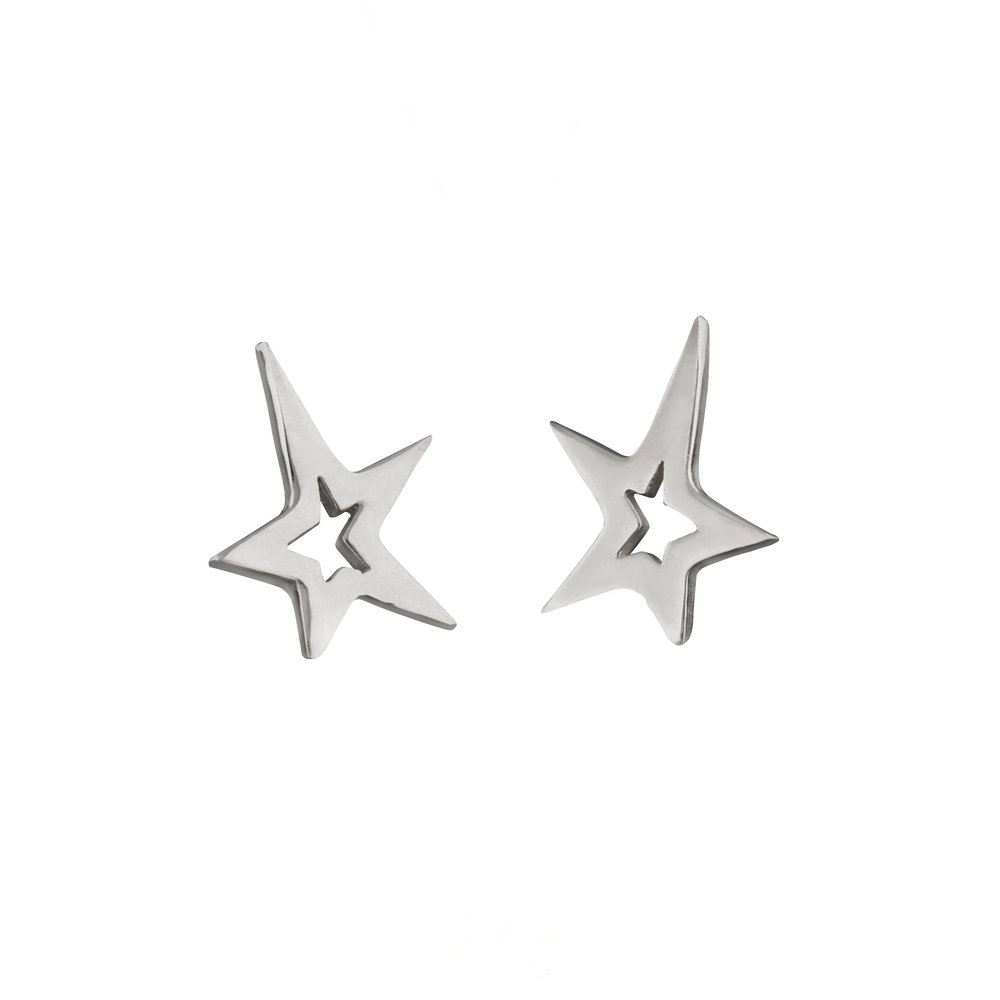 Sterling Silver Star Studded Earrings