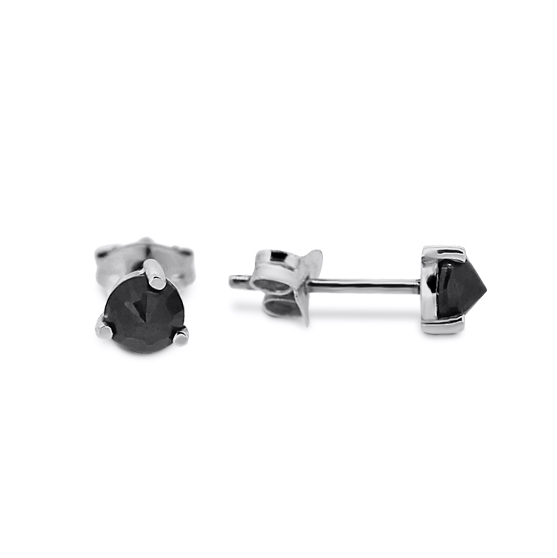 Midnight Collection Silver Sapphire Stud Earrings close up.png