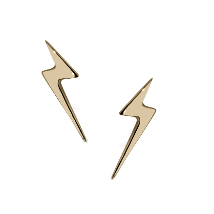 Lightning Bolt Stud Earrings 9ct Yellow Gold Stella By Tory Ko