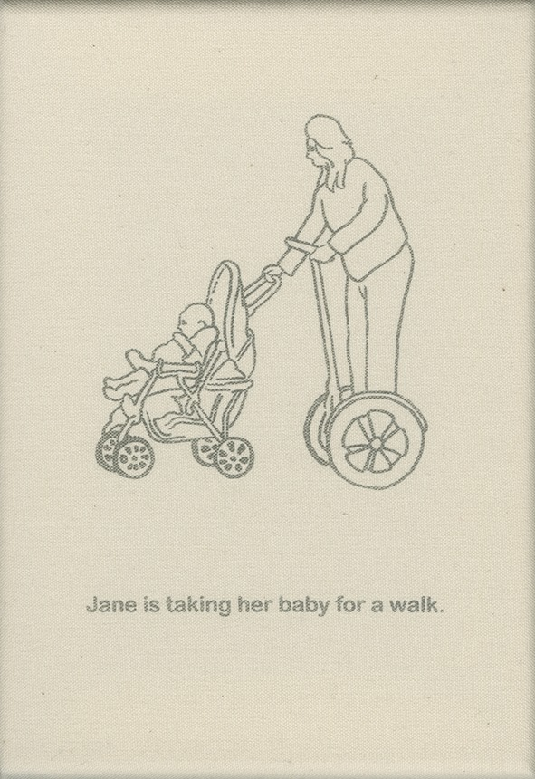 Jane takes her baby for a walk.