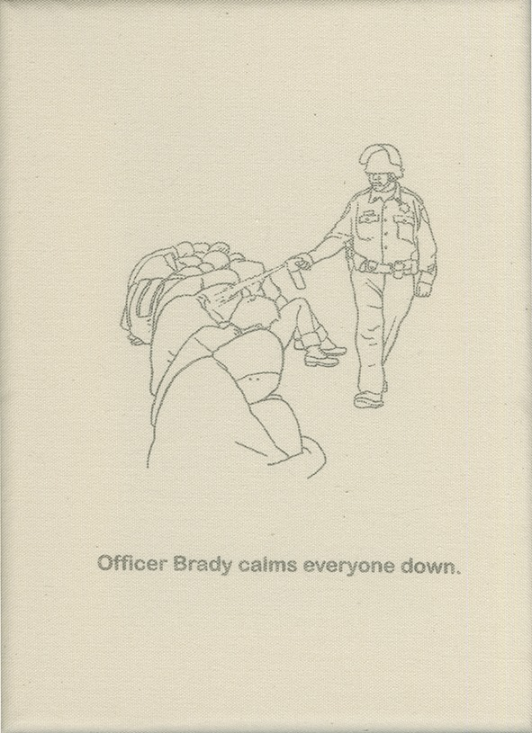 Officer Brady calms everyone down.
