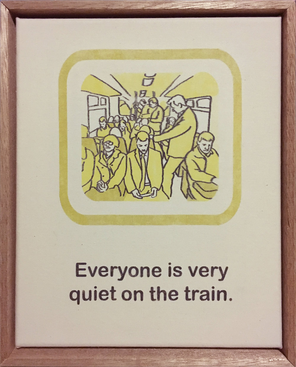 Everyone is very quiet on the train.