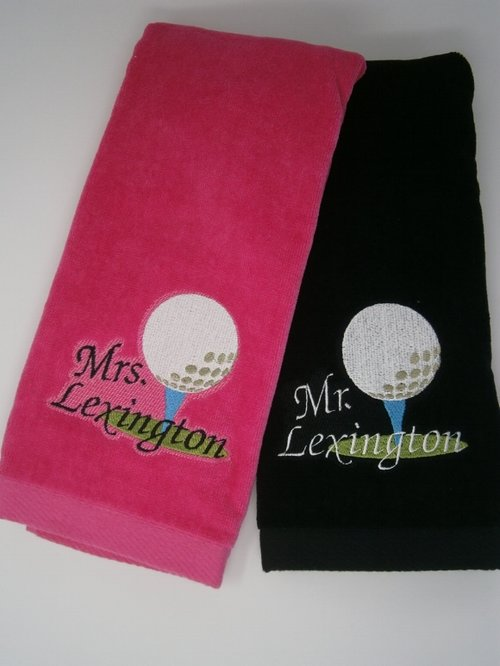 Mr. & Mrs. Golf Towels-Lavington Designs Golf Towel Hook Design on pear hooks, bag hooks, golf packages, golf shower curtains, golf shower hooks, bathrobe hooks, golf coat hooks, golf bath accessories, key ring hooks, golf curtain hooks, golf soap dispenser, golf towels product, golf club hooks, jewellery hooks, golf tee, golf glove holder, golf fix hooks, jacket hooks, golf towels in bulk,