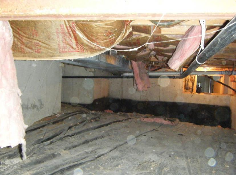 The insulation inside this crawlspace is a mess and it's installed incorrectly, the vapor barrier (which is the paper or plastic side) is facing down instead of up. Insulation should always be installed with the vapor barrier to the warm house side (e.g., in attics the vapor barrier is face down and insulation is up, in crawlspaces the vapor barrier is face up and insulation is facing down, and on basement or crawlspace walls the vapor barrier is facing out while the insulation is against the foundation walls.
