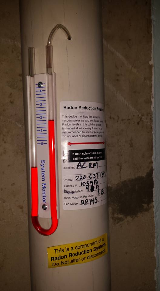 This gauge has nothing to do with radon levels but only shows that the radon mitigation system was working and we have a negative pressure in the system. Re-testing is recommended every 5-years. Just because the system is working doesn't necessarily mean that the radon levels are low.
