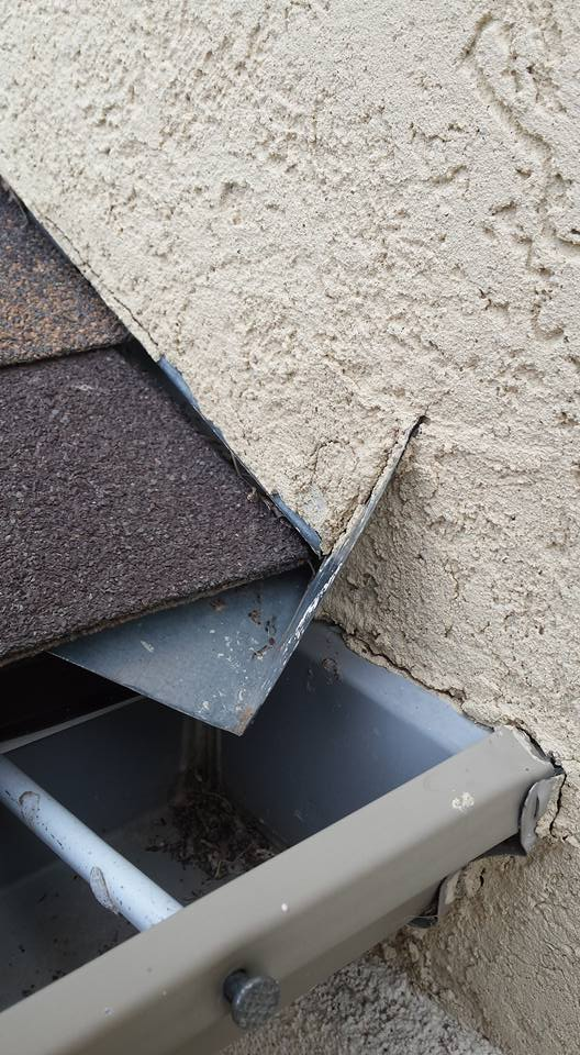 Kickout flashing is a special type of flashing that diverts rainwater away from the siding and into the gutter. Unfortunately it is often missing or improperly installed.