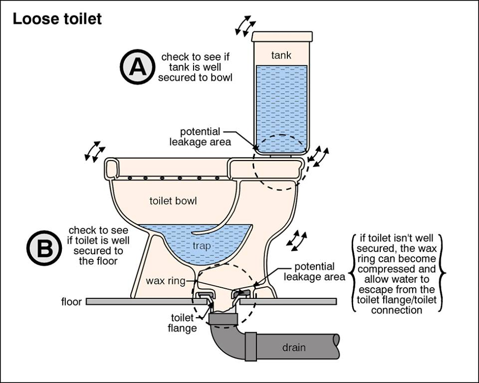 Loose toilets are frequently found during inspections; look for discoloration in vinyl flooring or tile grout indicating a possible leak. During a home inspection I always check floors around toilets with a moisture meter; a little leak can do a lot of damage in a short amount of time.