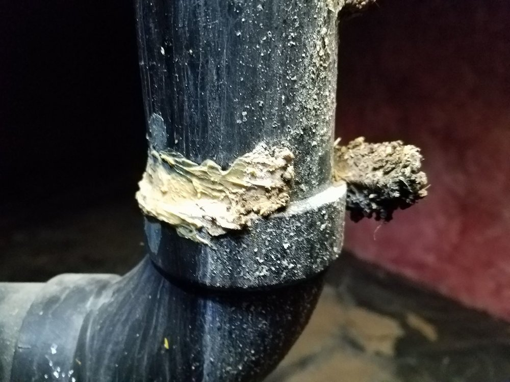 Plumbers putty will not fix poorly cemented ABS drain pipes, in fact, it just created an avenue for mold growth. Call me to schedule your next home inspection. I'm absolutely confident you will not be disappointed.