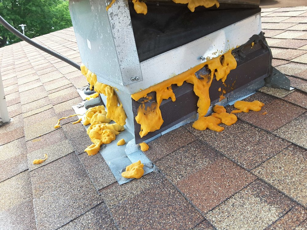 Regardless of what the manufacturers may claim, expanding foam is a horrible product for exterior use, it breaks down quickly under UV rays and most of them do not seal against water intrusion. This is an excellent example of what not to do with expanding foam.