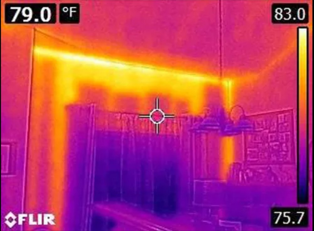 Infrared thermal imaging could help identify wet/missing insulation at walls or attic ceiling. Proper insulation and ventilation can help reduce cooling costs.