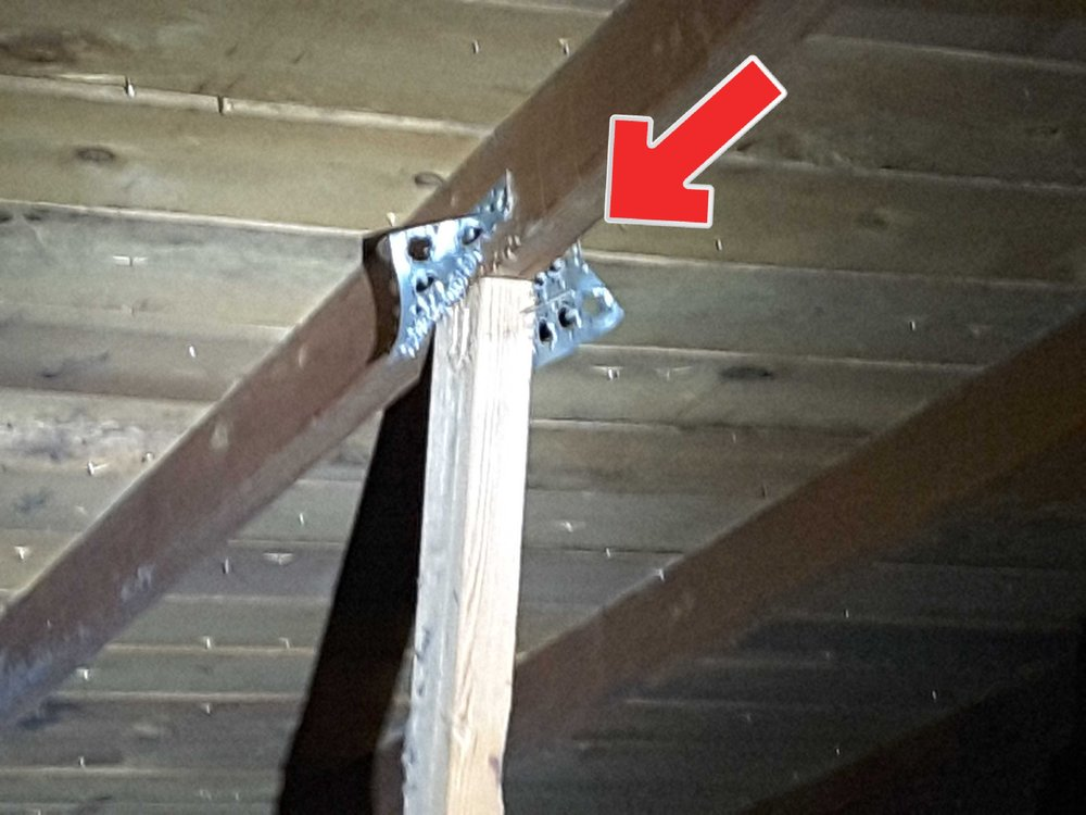 Part of this roof truss was replaced with the gusset plates torn away, this compromises the integrity of the truss and needs to be repaired.