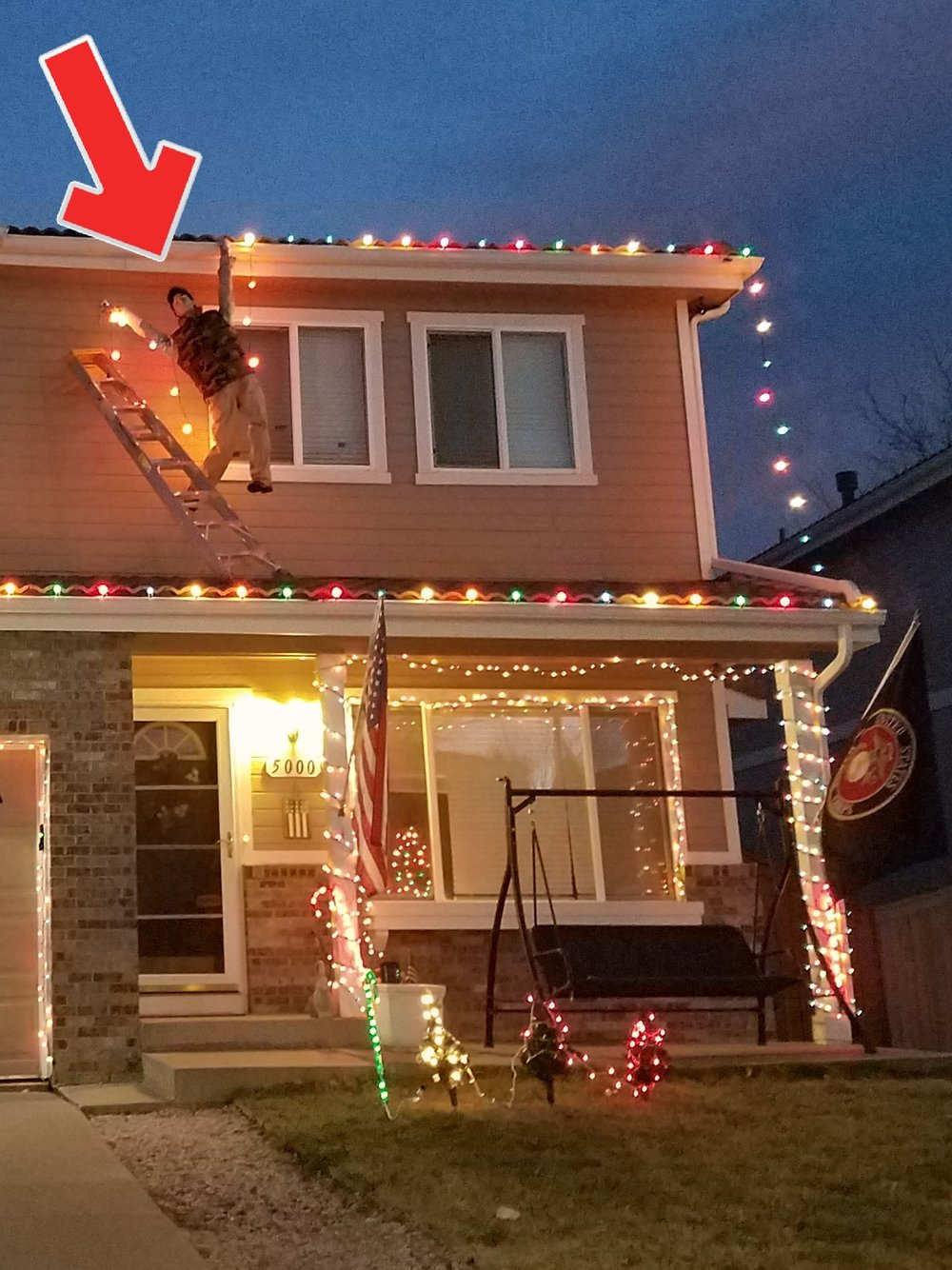 Don't be a dummy like this guy when installing Christmas lights. Also, use caution on who you let near your concrete tile roof. I've seen lots of damage over the years from Christmas light installers.