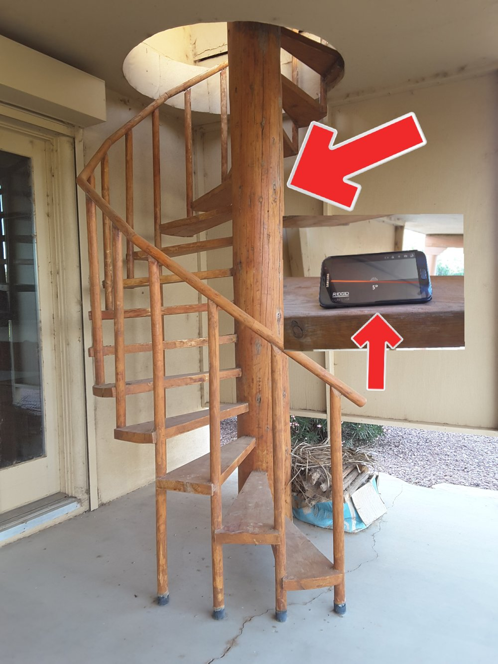 Spiral staircases are inherently dangerous. Uneven treads, open risers, wide baluster spacing and the treads have a 5° slope. This staircase needs removal.