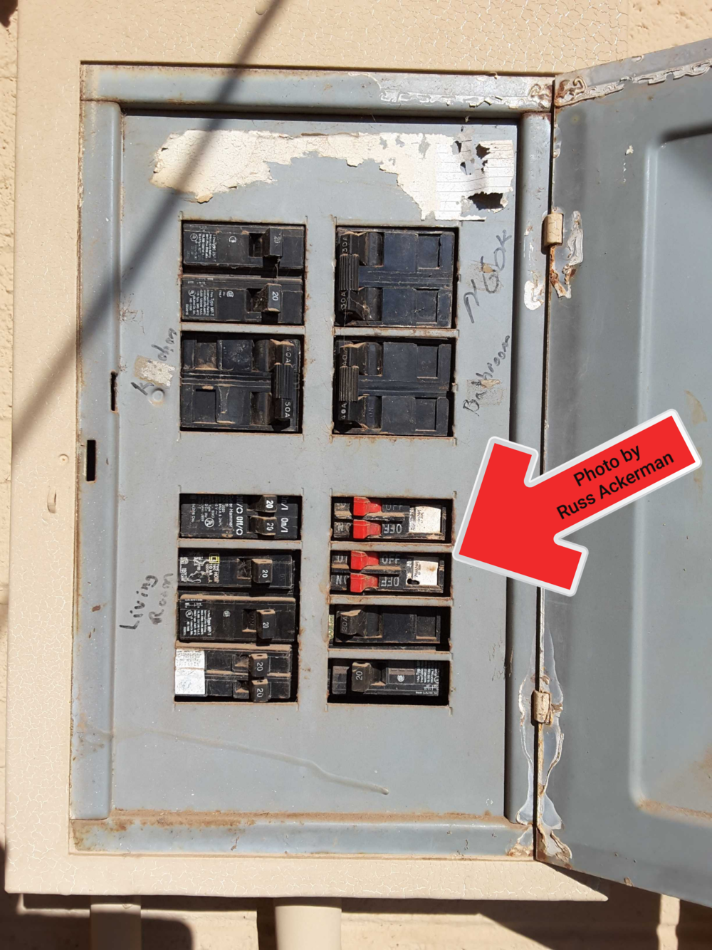 This electrical panel is full, poorly labeled and has mismatched breakers. Take care of the safety hazards now and a plan on upgrading this panel in the future.