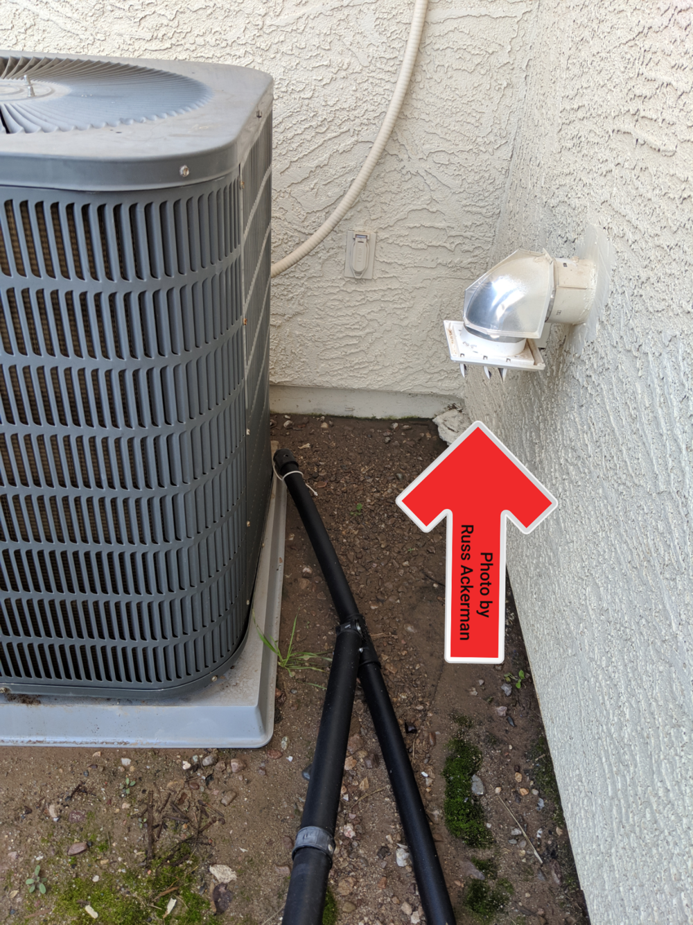 A dryer exhaust vent should not terminate near a heat pump. This will clog condenser coils and the hot air will decrease the efficiency of your HVAC system.