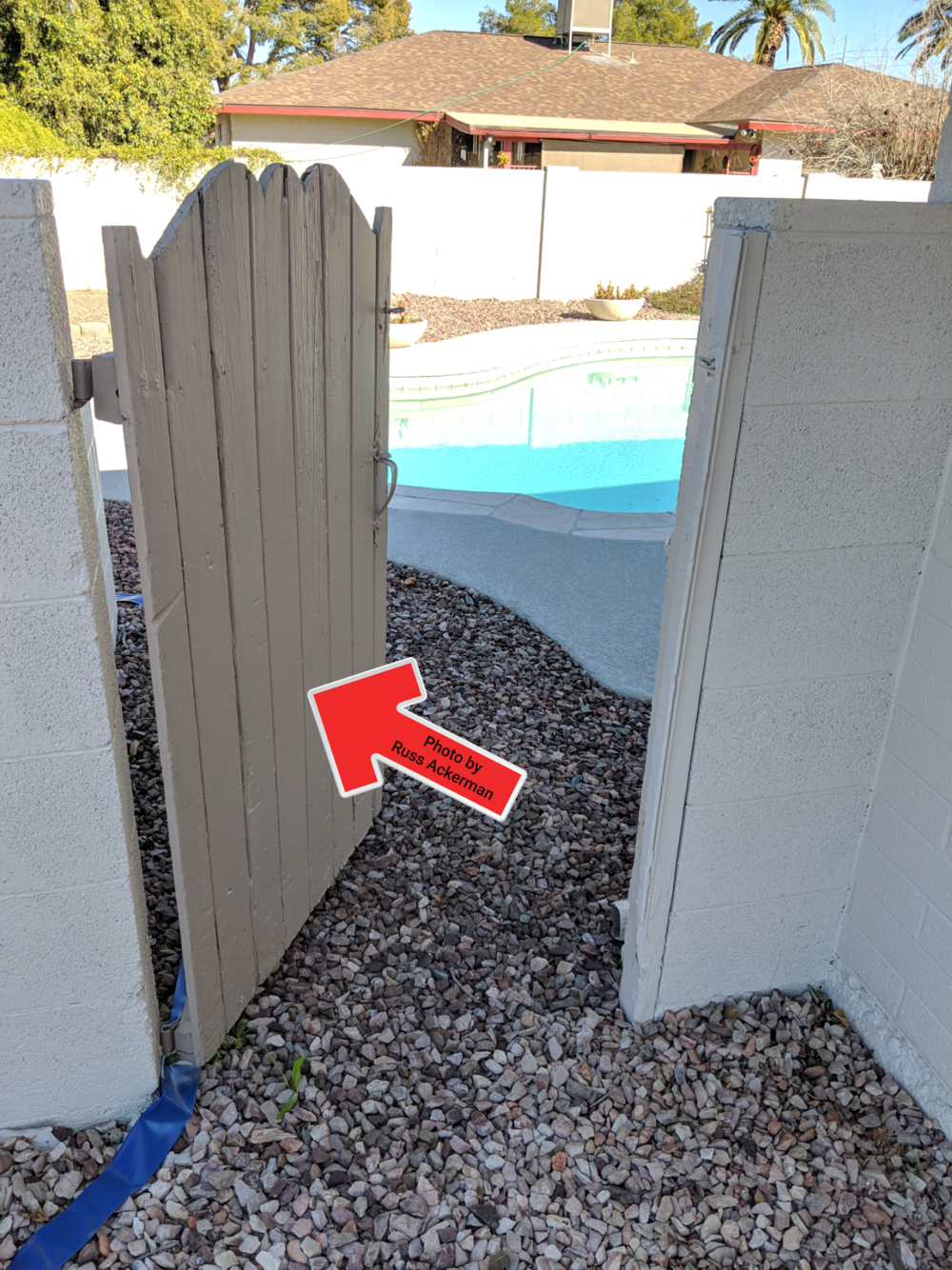 Gates leading to a pool area should swing outwards away from the pool and be self-closing and self-latching.  https://goo.gl/E4Y9JE
