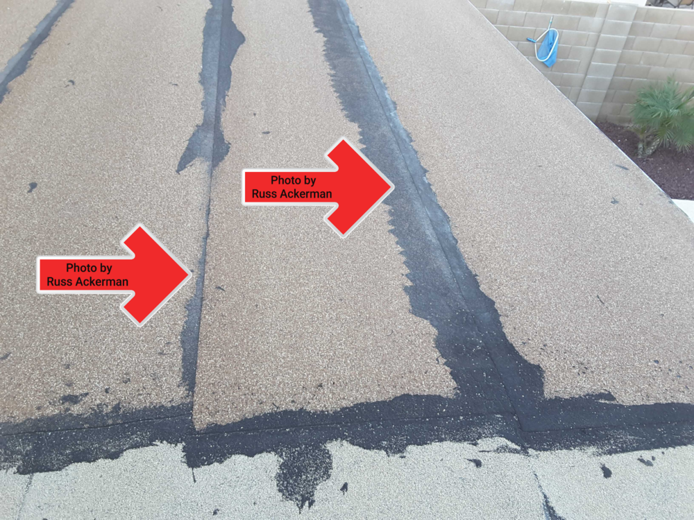 This rolled asphalt roof was improperly installed with the laps climbing up instead of down the roof. If you're going to install your own roof, follow the directions.