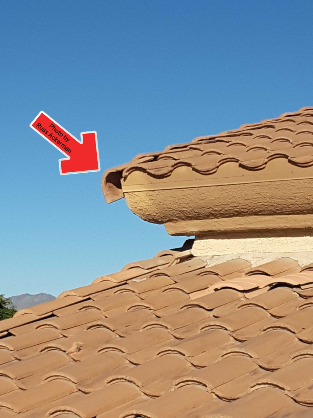 This rake edge roof tile is loose and about to fall. It's amazing how many homes I drive by that are missing rake tiles.