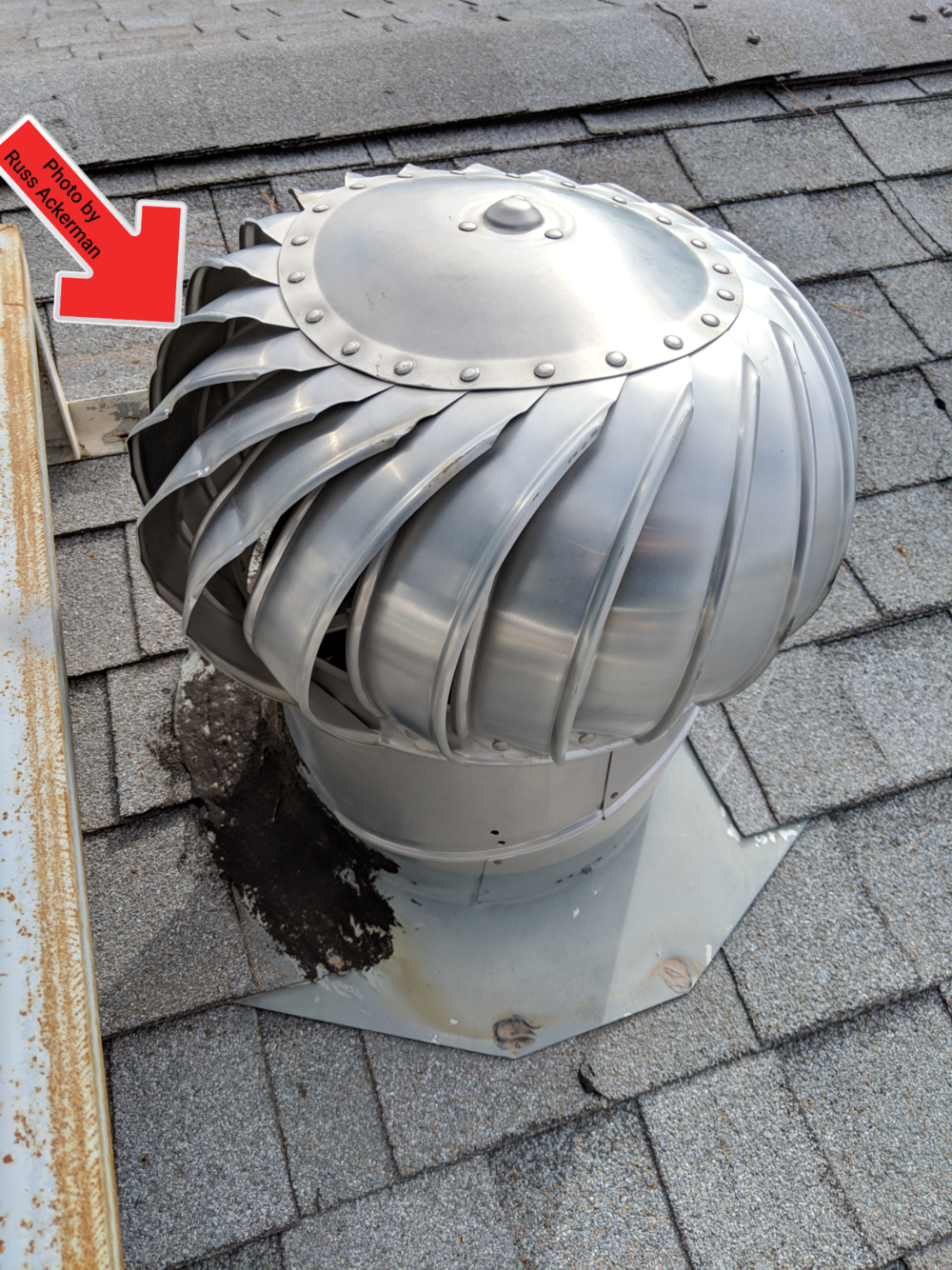 This turbine vent was bent and would not spin freely, replacement is needed to ensure proper ventilation of attic.