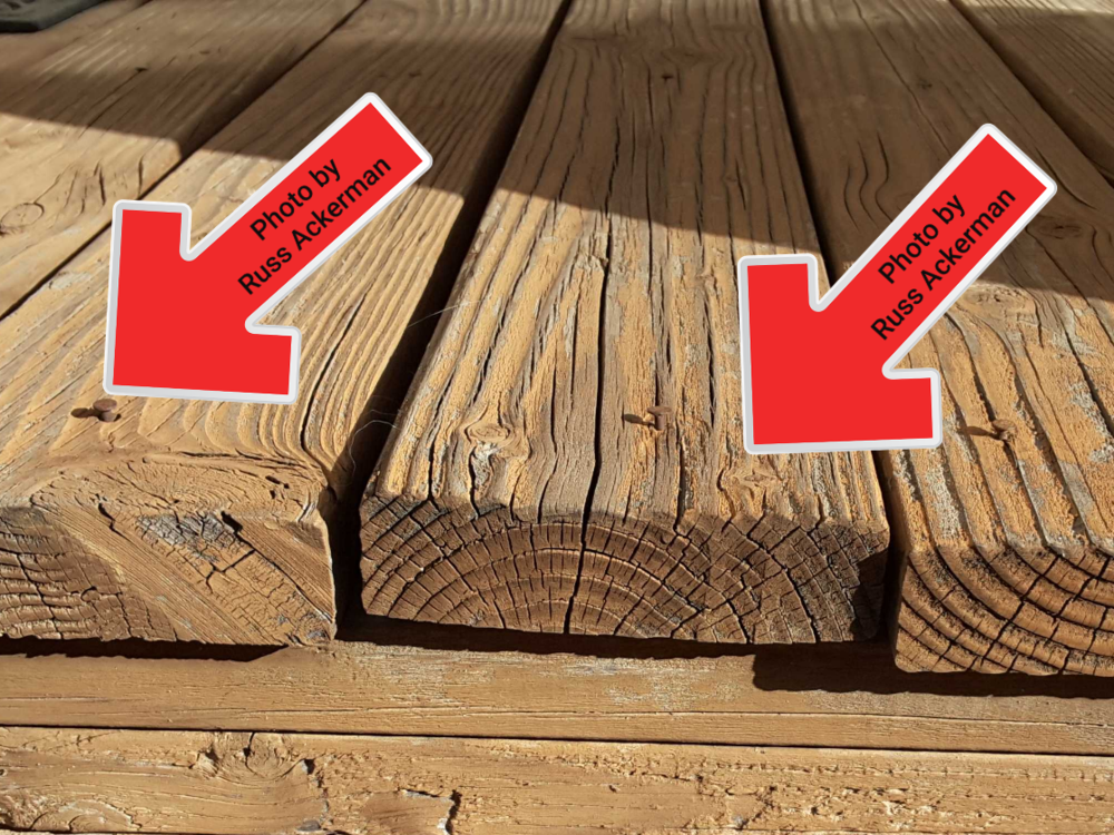 Loose deck boards and nails are safety hazards for bare feet and paws.
