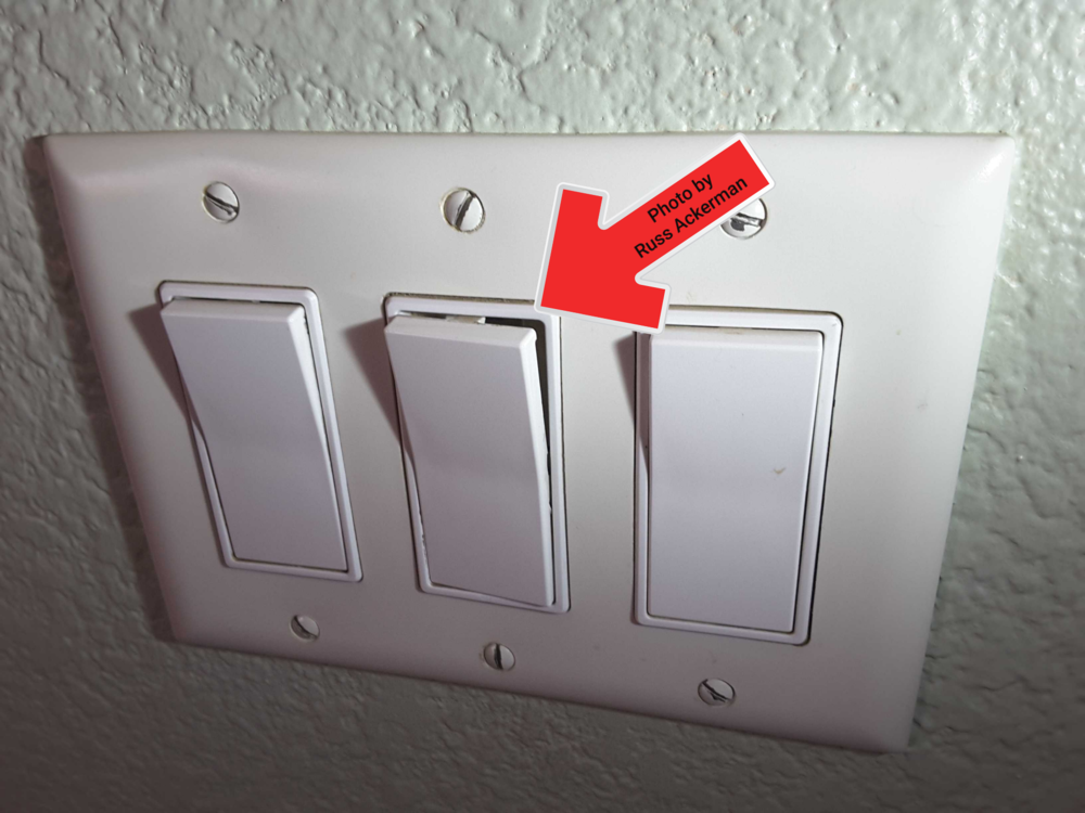 Old rocker switches are prone to wear and tear. This switch needs to be replaced.