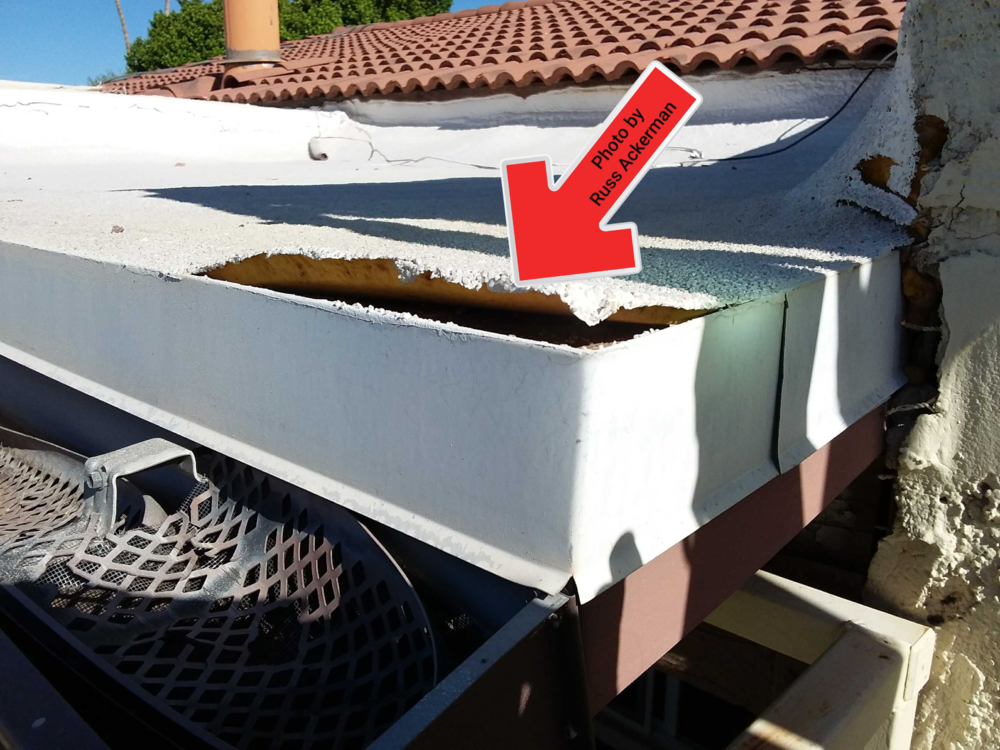 This polyurethane foam roof is in need of repairs to reduce the chance if leaking and water damage.