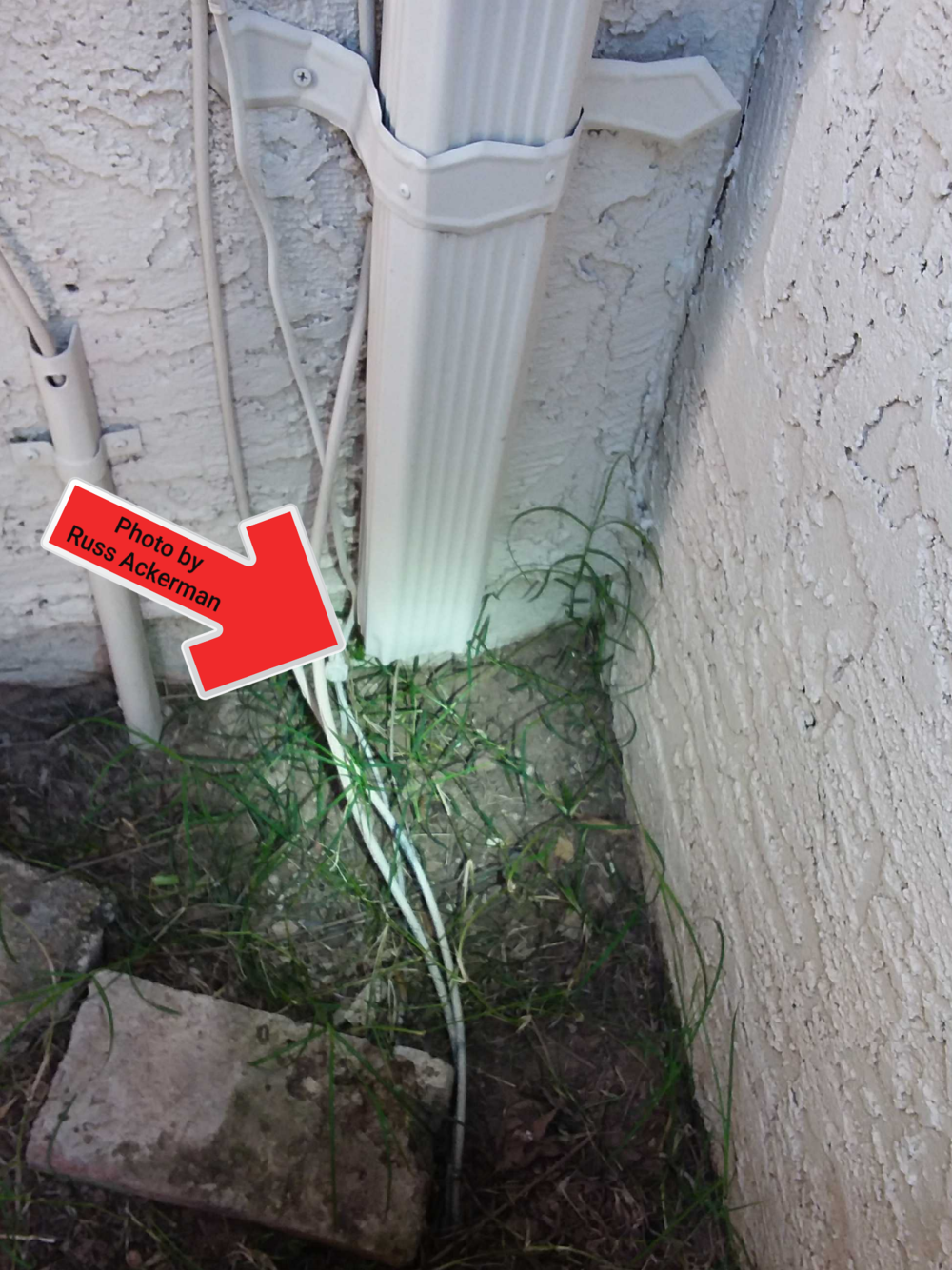 Downspout extensions should terminate at least 6' away from the foundation to reduce the chance of settling issues in the future.