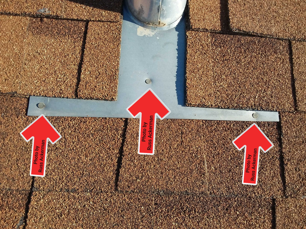 All exposed nails at asphalt roofs should be sealed to prevent rusting and potential leakage in the future.