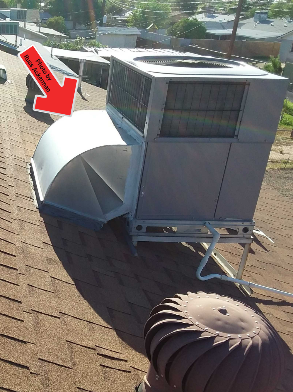 This elbow at rooftop HVAC equipment is the main indicator that you have a package unit with no attic air handler.