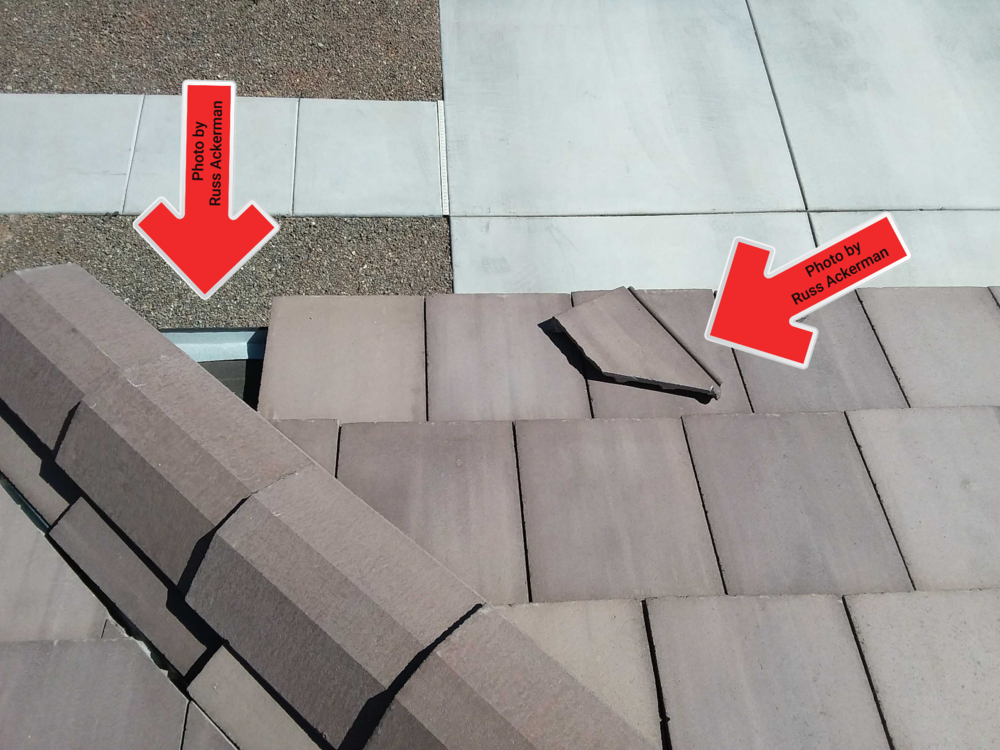 Missing, displaced or slipped roof tiles will expose the underlayment, which will break down very quickly under UV rays.