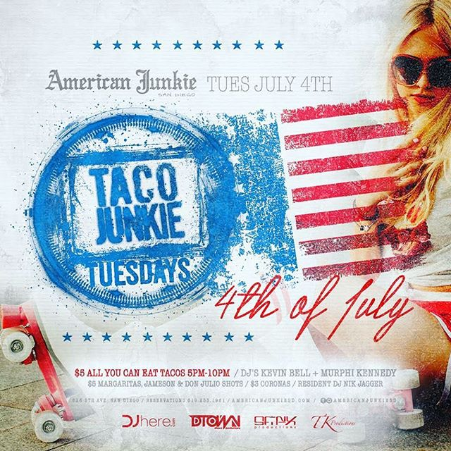 Taco Junkie Tuesdays + 4th of July = the best party in town! #GoMerica #fourthofjuly #USA #tacojunkie #tacotuesday