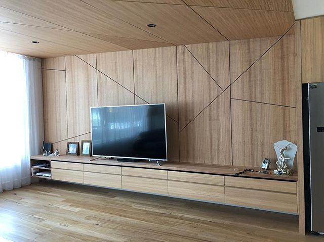 This TV makes the wall look small, the TV cabinet is 5.5m long #sawdusttimberfurniture #joinery