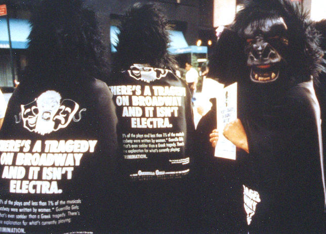 Three Guerrilla Girls show off their outfits during the TONY Awards protests. (Photo provided by Donna Kaz).