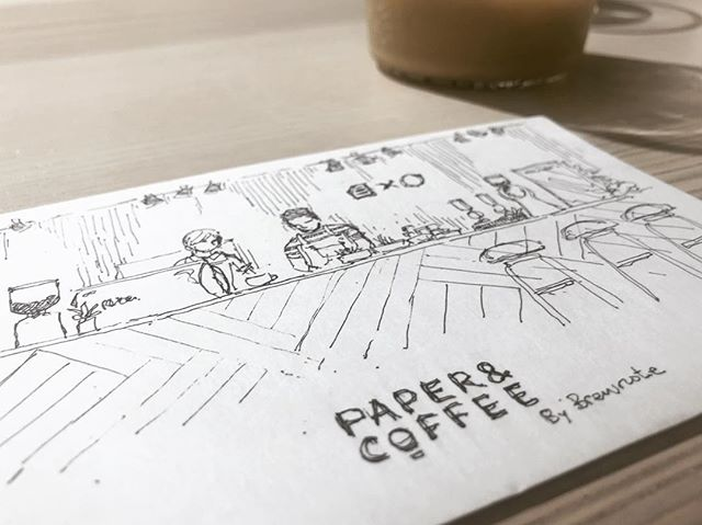 Doodle at new cafe @brewnotecoffee @paperncoffee.cuhk #sketch #doodles #illustration #postcard #coffee #barista #chillin #hongkong