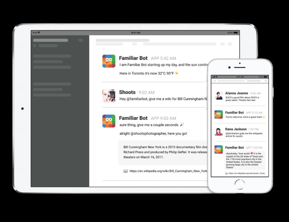 Familiar Bot displayed on iPad Pro and iPhone 8