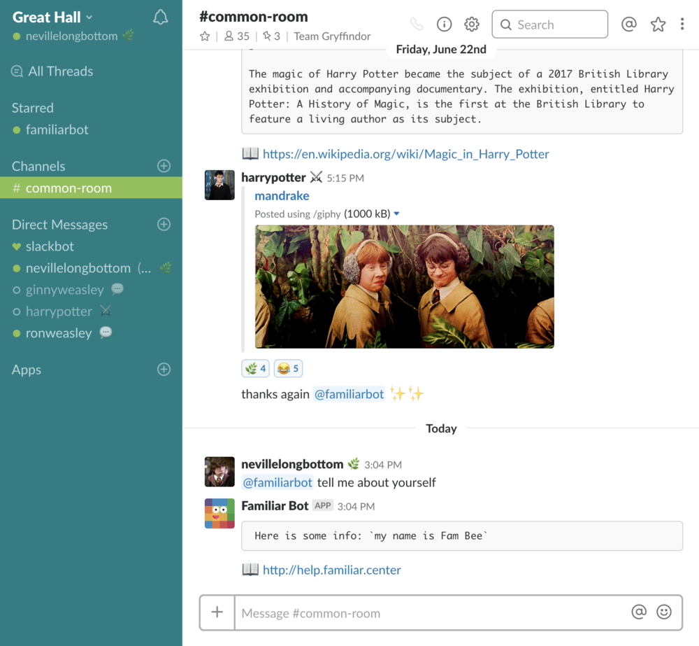 Install the Familiar Bot app on Slack, and get a bot user, as well as slash commands