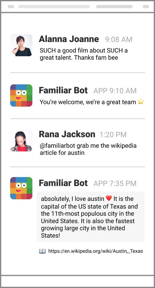 Familiar Bot chats with Rana and Alanna. Rana and Alanna! 🤖💬