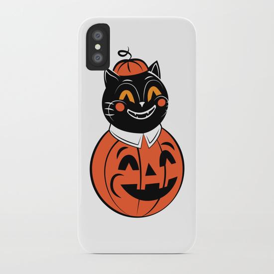 Pumpkin cat phone case by Thekaterina