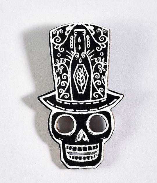 Ebony Wood Skull Tophat Pin