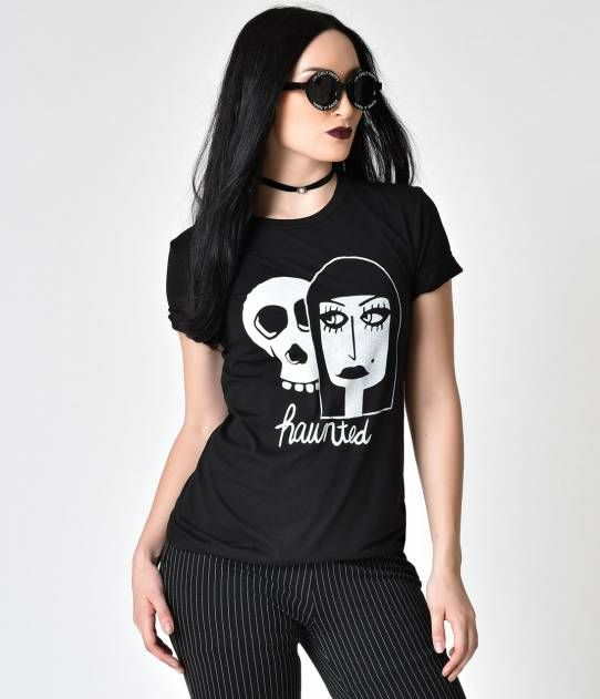 Black Haunted Graphic Tee