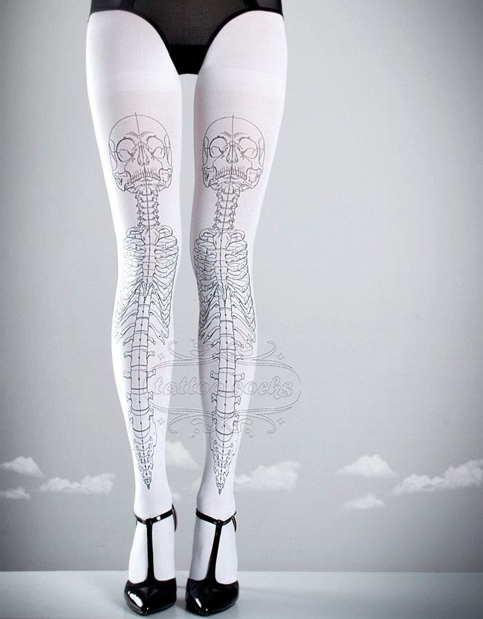 Skeleton tattoo tights