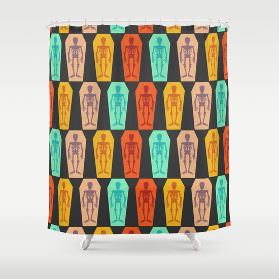 Colorful Skeleton Shower curtain by CocoDes