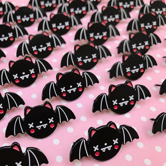 Bat enamel pins