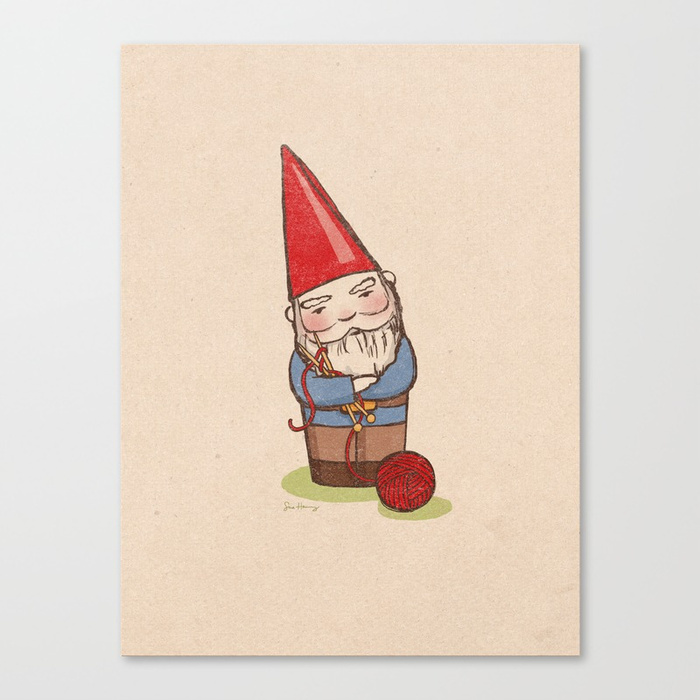 - Knitting gnome canvas print