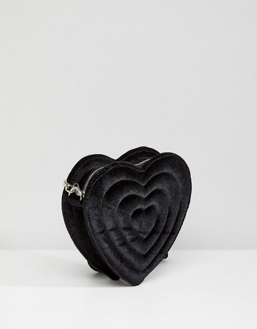Monki Embossed Love Heart Velvet Bag