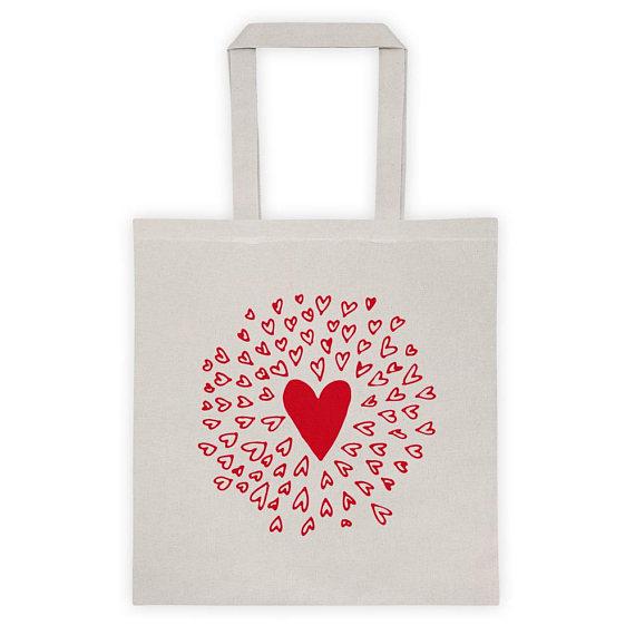 Bonheur Factory Red Heart Tote Bag