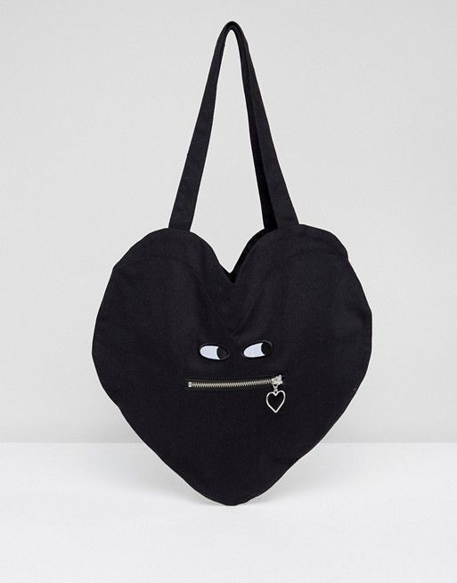 Lazy Oaf Heart Shaped Cotton Zipper Bag