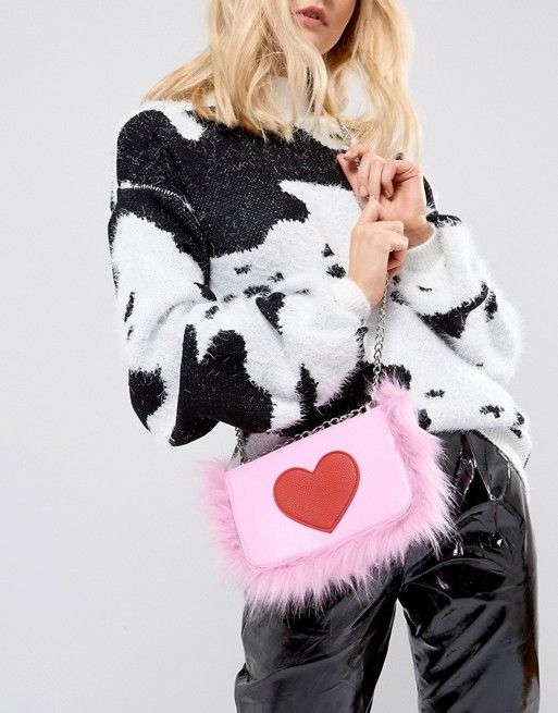 Skinnydip Heart Foldover Faux Fur Cross Body Bag